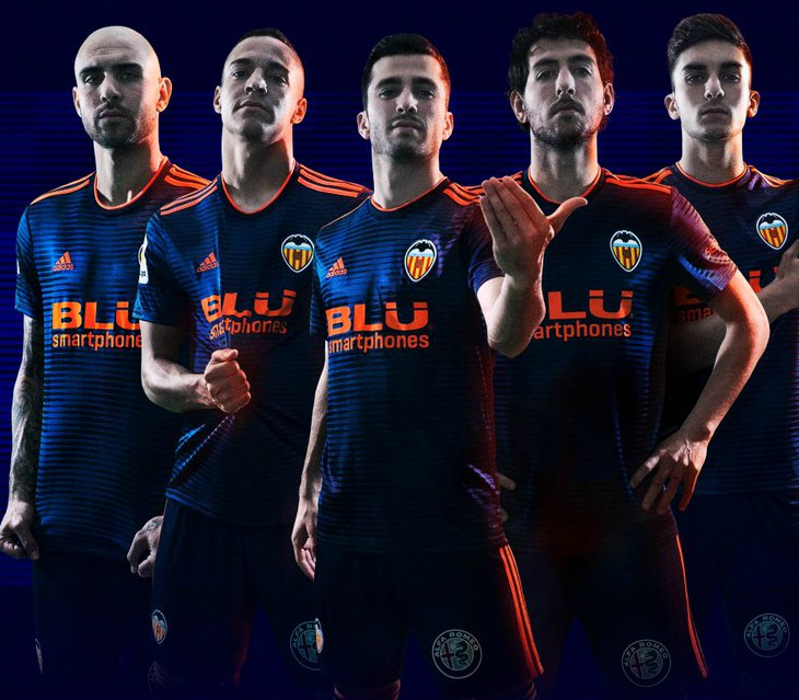Valencia 2018-19 Adidas Away Kit Football Shirt