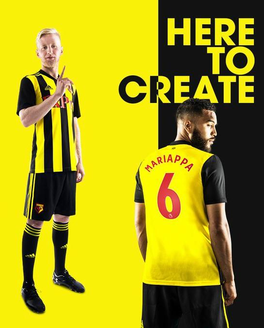 Watford 2018/19 Adidas Home Kit Football Shirt