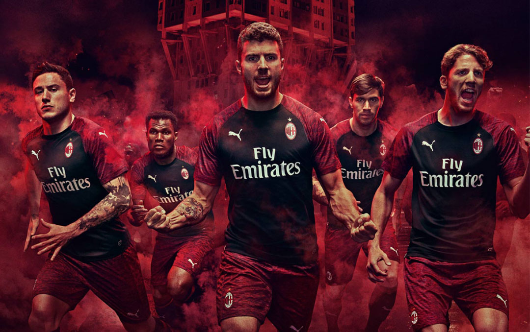 f86d9e613 The Puma AC Milan 18-19 third kit introduces a modern design inspired by  the brand s 2018-2019 aesthetic. It s once again sponsored by Emirates and  should ...